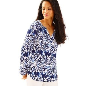 •Lilly Pulitzer• Lilias Top Blouse Blue Printed